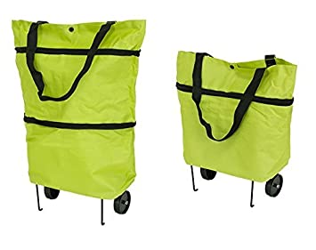 Premium Bolsa De La Compra (con Ruedas y Plegable sujetalibros (Plegable – Fácil – Impermeable) Shopping Bag Bolsa de la Compra Ruedas Trolley Green ...