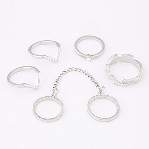 Ava Adorn Urban Stacking Bands 6 Piece Midi Ring Set