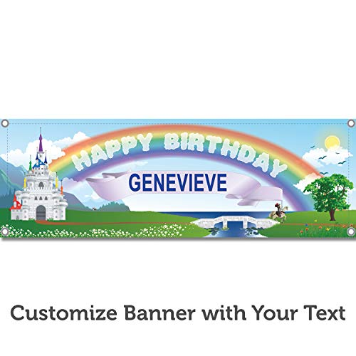 HALF PRICE BANNERS | Custom | Princess Castle Birthday Vinyl Banner | Heavy Duty Outdoor | 4'x12' Rainbow | Includes Bungees & Zip Ties | Easy Hang Sign | Party Decoration | Various Size | Made in USA ()