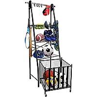 Mythinglogic Sports Equipment Garage Organizer, Rolling Ball Garage Storage, Sports Gear Storage for Kids, Adjustable Rob Sports Storage, Sports Organization with Hooks,Ball Equipment Racks