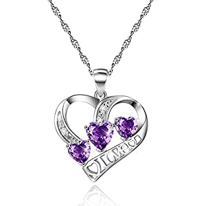 Amethyst Love Heart Sterling Silver Necklace February Birthstone Diamond Purple Pendant Necklace Jewelry