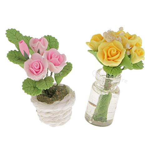 (Prettyia Dolls House Miniature Yellow & Pink Roses in Vase Pot Flower Fairy Garden Home Decoration 1:12 Scale)