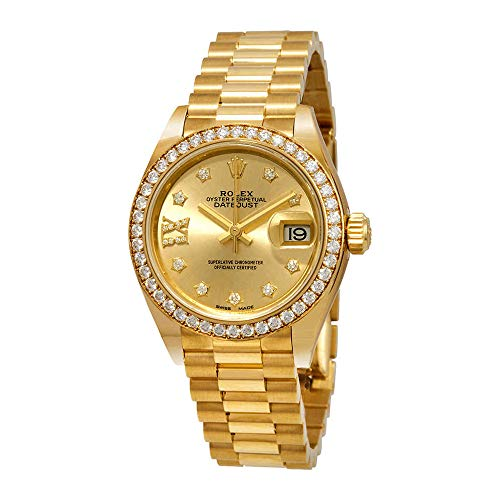 Rolex Lady-Datejust Champagne Diamond Dial 18kt Yellow Gold President Watch 279138CRDP