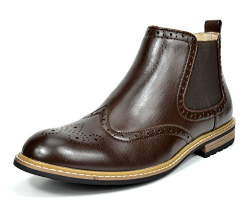Bruno Marc Mens Bergen Leather Lined Oxfords/Chelsea Dress Ankle Boots Dark Brown-05 zQxjcm3I