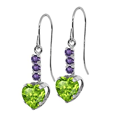 Gem Stone King 1.90 Ct Heart Shape Green Peridot Purple Amethyst 925 Sterling Silver Earrings