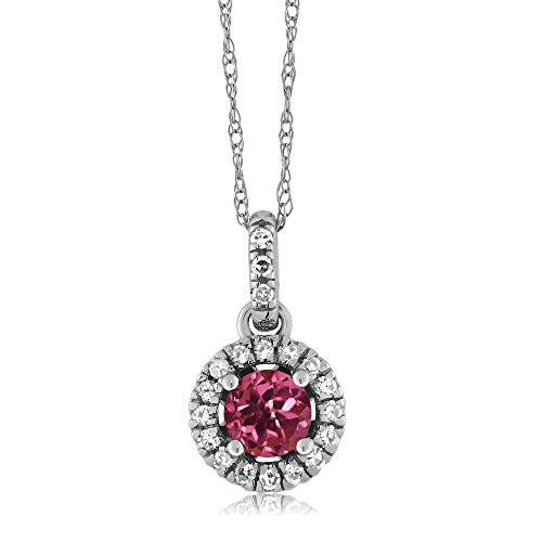 8K White Gold Diamond Halo Solitaire Pendant with 0.34 Ct Round Pink Tourmaline