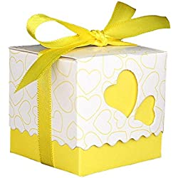 HMANE Candy Box, 50Pcs European Style Love Heart Pattern Favor Candy Box Gift Box with Ribbon DIY Wedding Party Baby Shower - (Lemon)