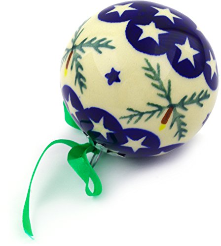 Polish Pottery 3½-inch Ornament Christmas Ball (Holly Stars Theme) + Certificate of Authenticity