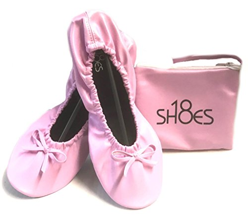 Shoes8teen Women's Foldable Portable Travel Ballet Flat Shoes w/Matching Carrying Case (7/8 Pink sh-18) - Pink Ballet Flats