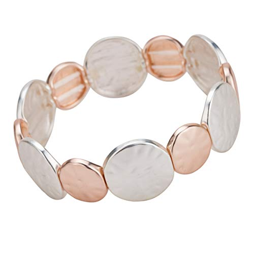 Firsteel Hammered Disc Bracelet Rose Gold Plated Disc with Leather Multi Row Bracelet for Women Stretch -