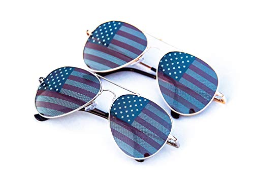 Goson American Flag Mirror Aviator Novelty Decorative Sunglasses (Silver/Gold Combo in Black Gift ()