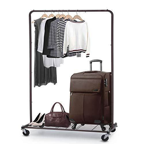 Simple Trending Clothes Garment Rack, Clothing Rolling Rack with Mesh Storage Shelf on Wheels, Bronze