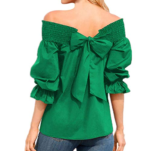 Women's Puff Sleeve T-Shirts, Lady Off-Shoulder Top Large Size Bow Bandage Blouse Solid Sexy Slash Neck Top