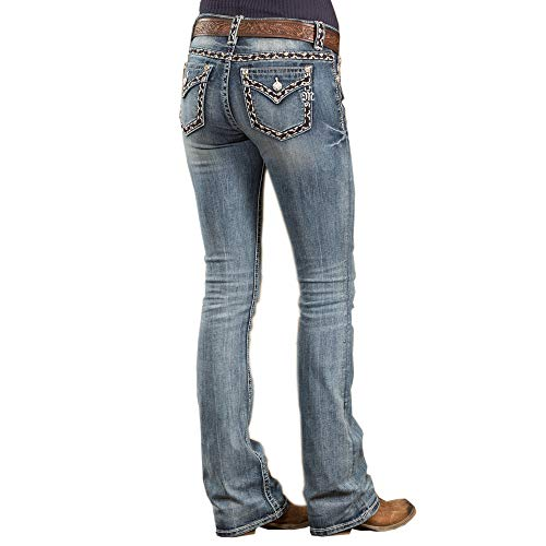 Miss Me Women's Heavy Stitched Boot Cut Jeans Indigo 27 by Miss Me