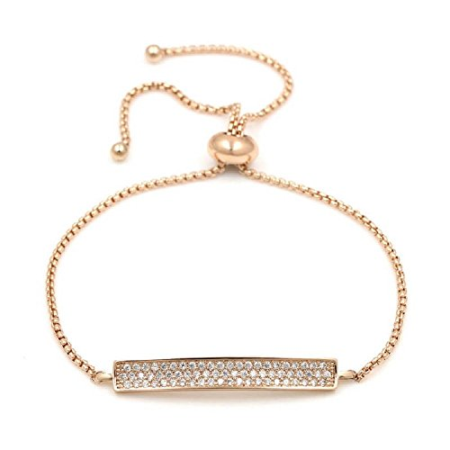 Zen Styles Half Bar Simulated Diamond Pave Bolo Bracelet, Rounded Box Link Chain, Pave Slider, Adjustable Size, Gold-Tone for Women and (Diamond Gold Bar Style Bracelet)