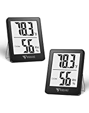DOQAUS Indoor Thermometer [2 Pack], Mini Digital Hygrometer Room Thermometer, Humidity Meters, Accurate Temperature Humidity Monitor Gauge for House, Baby Room, Greenhouse, Home Black (2.3X1.8inch)