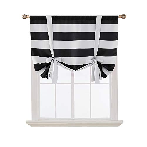 Deconovo Striped Blackout Curtains Rod Pocket Black and Greyish White Striped Curtains Tie Up Window Drapes for Living Room 46W X 63L Black 1 Panel - Black Curtain White