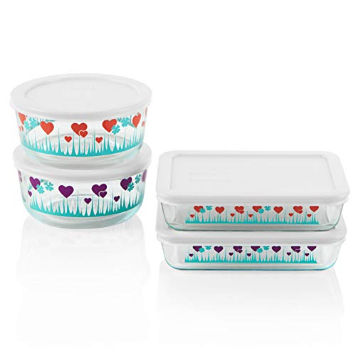 - Pyrex Decorated Glass Food Storage Set (8-Piece, BPA Free, Lucky in Love)