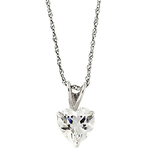 Beauniq 14k Yellow or White Gold 14k 5 Millimeter Cubic Zirconia Heart Solitaire Pendant Necklace