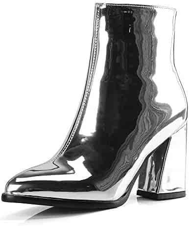 c09fdb358 Ankle Boots Women Block High Heel Glitter Patent Leather Pointed Toe Side  Zippers Cowboy Dress Martin