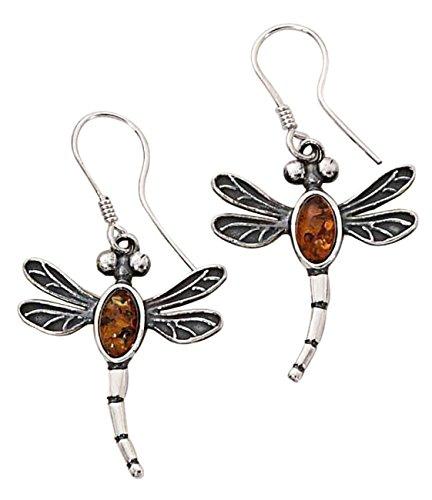 Sterling Silver Honey Cognac Amber Dragonfly Drop Dangle Earrings