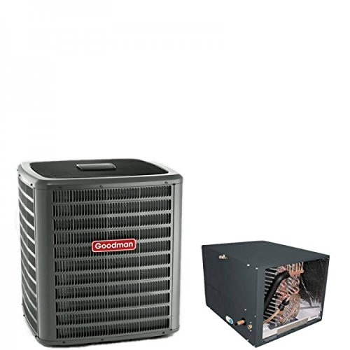 3 Ton Goodman 14 SEER R410A Air Conditioner Condenser with 17.5' Tall Horizontal Cased Evaporator Coil
