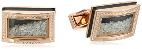 Enamel Genuine Cufflinks - Tateossian Signature Diamond Dust Rose Gold Black Enamel D Shape Cuff Link