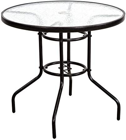 FurniTure Outdoor Patio Table Patio Tempered Glass Table 32 Outdoor Bistro Tables with Umbrella Hole Perfect Garden Deck Lawn Round Table, Dark Chocolate