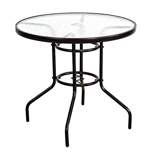 Cheap FurniTure Outdoor Patio Table Patio Tempered Glass Table 32″ Outdoor Bistro Tables with Umbrella Hole Perfect Garden Deck Lawn Round Table, Dark Chocolate