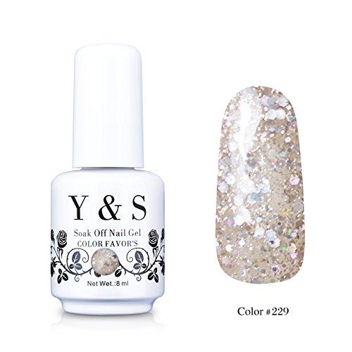 Yaoshun Gelpolish, Soak-off (Gel Nail Polish) UV LED Nail Art/Beauty Care Glitter White Clean Crystal 8ml -#229 from Yao Shun