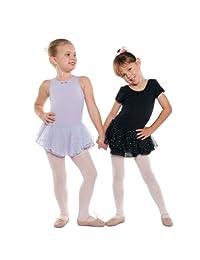 Danshuz Little Girl Black Short Sleeve Skirt Ballet Leotard Size 2-14