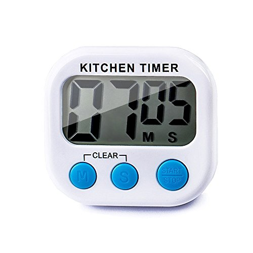 Digital Kitchen Timer,Cooking Timers Clock, Simple Operation, Stopwatch, Large Digits, Loud Alarm, Magnetic Backing,Stand, White ()