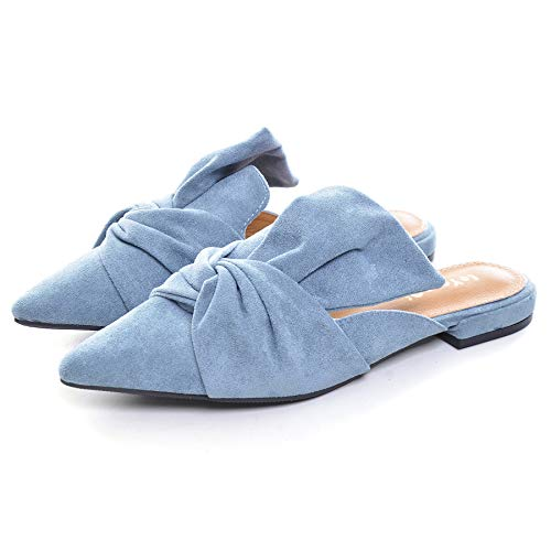 VFDB Women's bowtie Mule Slippers Summer Pointy Toe Loafers Slip On Flat Shoes Blue US 7.5