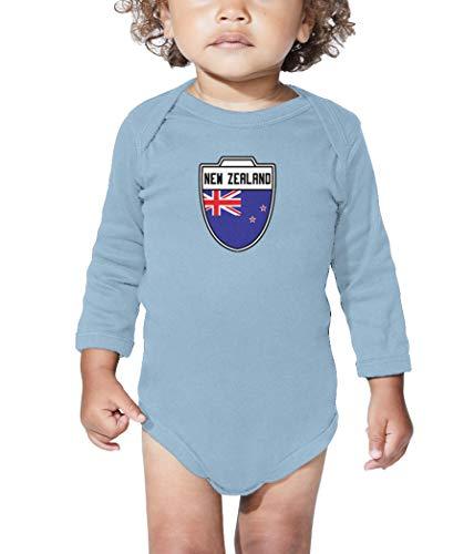 New Zealand - Country Soccer Crest Long Sleeve Bodysuit (Light Blue, 6 Months)