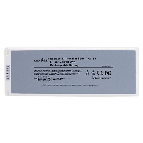 LENOGE® 6 Cells Replacement Apple A1181 A1185 10.8V 5900MAH Battery, Fit Laptop Models of Apple MacBook 13″ Series;Compatible Part Numbers of A1181, A1185, MA561, MA561FE/A, MA561G/A, MA561J/A, MA561LL/A,MA561FE/A,MA472LL/A?MA566, MA566FE/A, MA566J/A