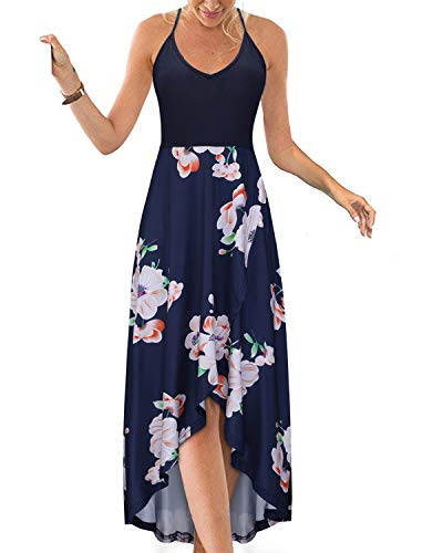 KILIG Women's V Neck Sleeveless Asymmetrical Patchwork Floral Maxi Dresses (Floral-1,M)