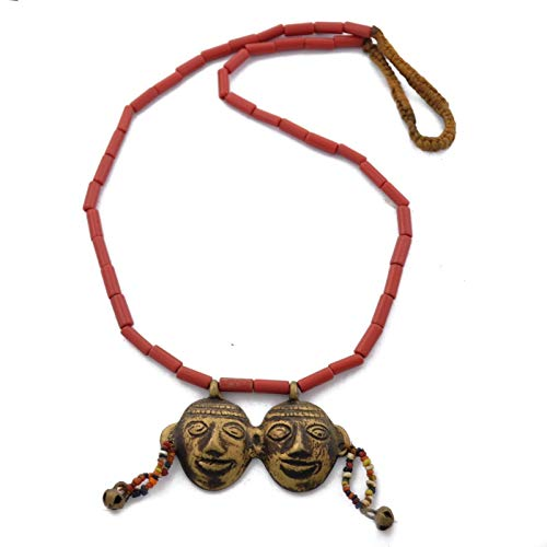 Naga Heads - Konyak Naga Style Red Glass Beads Double Headed Brass Headhunter Necklace AUN1924