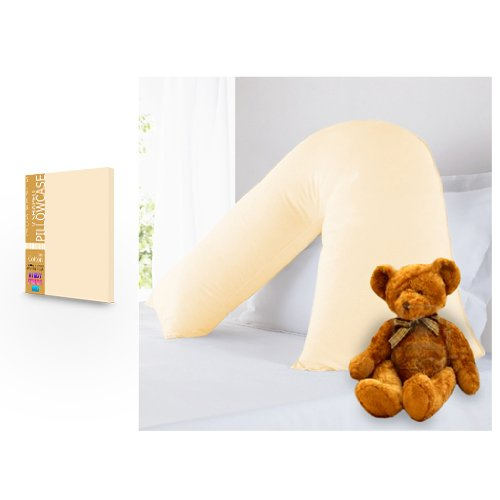 BLACK FRIDAY DEAL 2017 Pure 100% Cotton V Shaped Cream Pillowcase Boxify