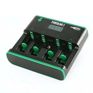 Ansmann 5207463 - Cargador de sobremesa Powerline 5 Zero Watt de bajo consumo para baterías Micro AAA, Mignon AA, Baby C, Mono D y E-Block 9V