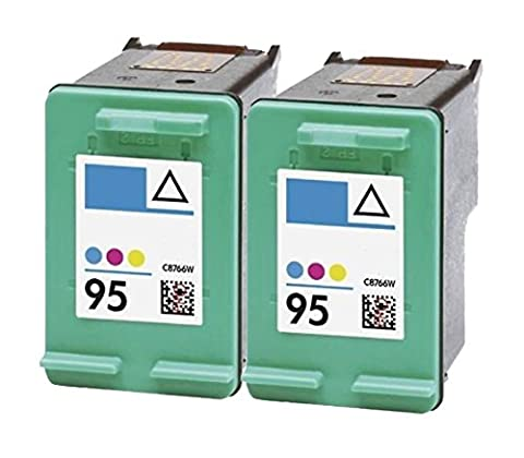 OCProducts Refilled HP 95 Ink Cartridge Replacement for HP Officejet 150 100 H470 7410 7310 7210 Deskjet 460 PSC 1610 2355 (2 (95 98 Hp Ink Cartridge)