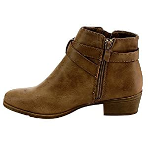 Top Moda EC88 Women's Criss Cross Buckle Strap Low Chunky Ankle Booties, Color:KHAKI, Size:10