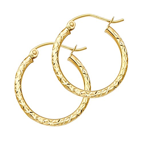 Womens Solid 14K Yellow Gold 1.5MM Fancy Hoop Earrings, (0.79 Inches)