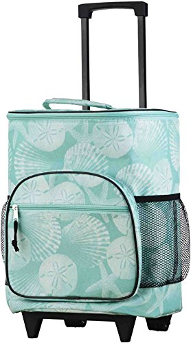 Home Essentials Rolling Insulated Cooler Aqua Coastal Bag (Insulated Bag Cooler Rolling)