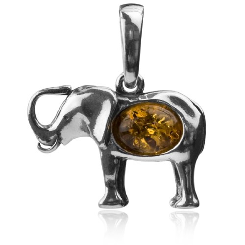 (Sterling Silver Amber Elephant Small Pendant)