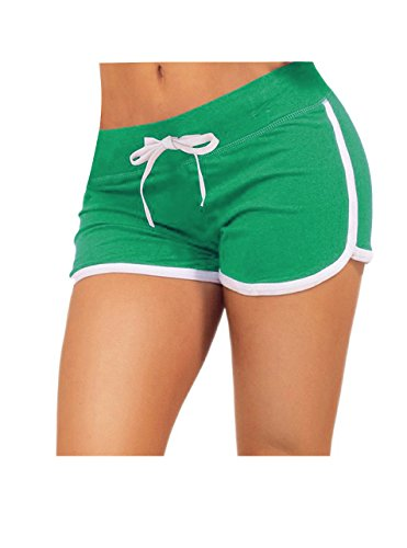 Little Beauty Women Running Active Lounge Booty Shorts with Drawstring Green M ()