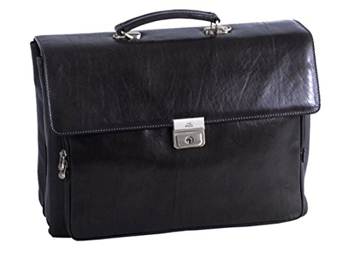 Laptop briefcase Leather 06432501 20 black STORY UOMO The Bridge OfE4pt