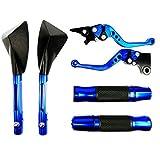 Kit Retrovisor Tomok+Manete Curto+Manopla Esportiva c/Peso Yamaha Fazer 250 Azul