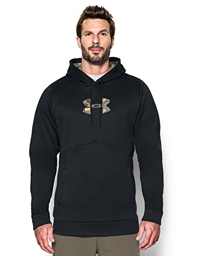 Under Armor Men's Storm Armour Fleece Stacked Hoodie — Tall, Black/Realtree Ap-Xtra, Large Tall