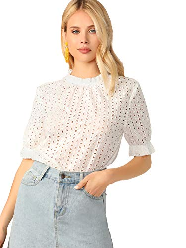 MAKEMECHIC Women's Casual Mock Neck Puff Sleeve Frill Eyelet Embroidery Blouse Top White L