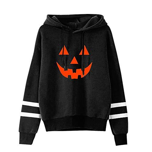 Auwer 2018 Women Long Sleeves Pumpkin Face Printed Halloween Sweatshirt Long Sleeve Casual Pullover Sweatshirt (S, Black)